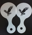 2 x eagle bird coffee cup / cappuccino stencils    reusable many times     present cafe